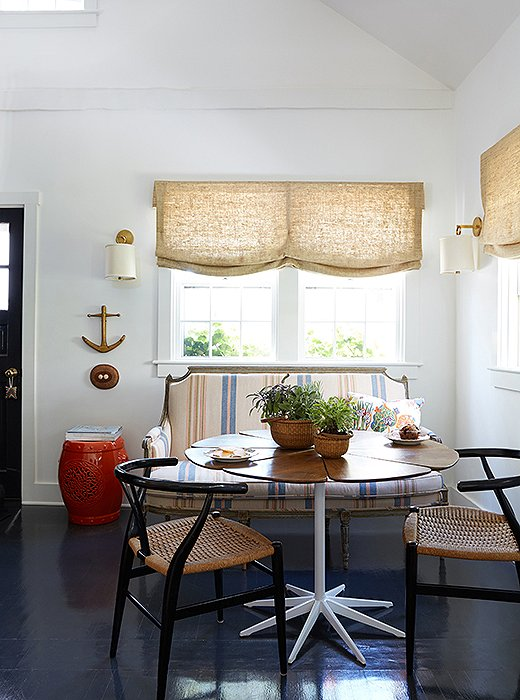 Not to be overlooked, smaller baskets for decoration or storage are as handy as your grandmother's hand-me-down rattan clutch. Elizabeth Bauer used a pair as planters in her Nantucket dining nook, creating lasting arrangements suitable for dinner parties or a casual lunch for one.