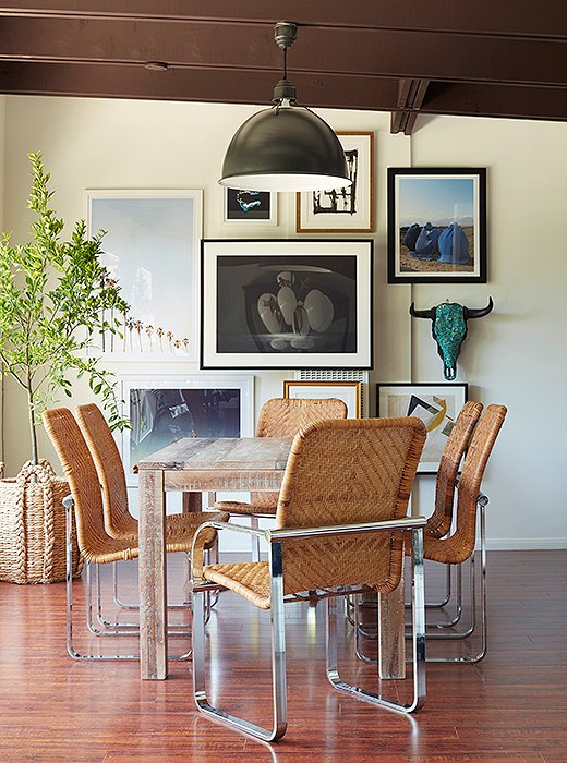 In the dining room of Sophia Bush's California home, designer Alex Reid mixed a set of contemporary cane chairs with a distressed table. Crafted in a style known as binding cane, the strips of rattan palm are woven around the frame of the seat, creating a pattern that's both beautiful and strong. Translate this room into an outfit and you've got your boho-chic go-to: a balanced combo of high fashion and neighborhood thrift.