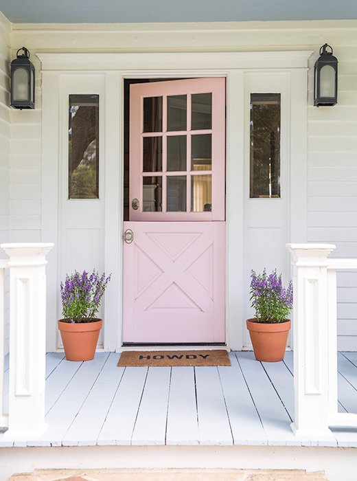 "Bailey and Pete didn't need to do much to the farmhouse's exterior to make it picture-perfect. ""We added scalloped shingles to enhance its existing Victorian charm and gave it a fresh coat of paint and a cute pink Dutch door,"" Bailey says. ""She already had so much going for her, our touches were just a bonus."""