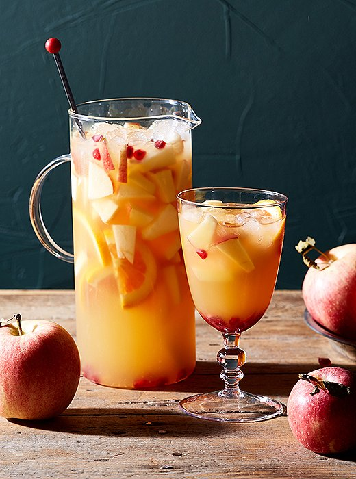 Sangria season doesn't have to end once the weather gets cooler. Our take updates the drink with pomegranates, oranges, and apple cider.