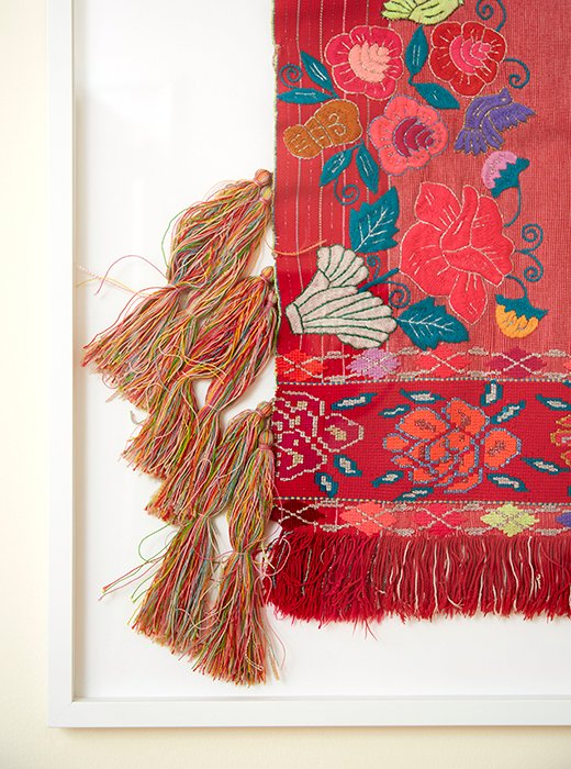 A Mexican Textile Floating Actually Sewn On A Mat To Highlight Its Textured
