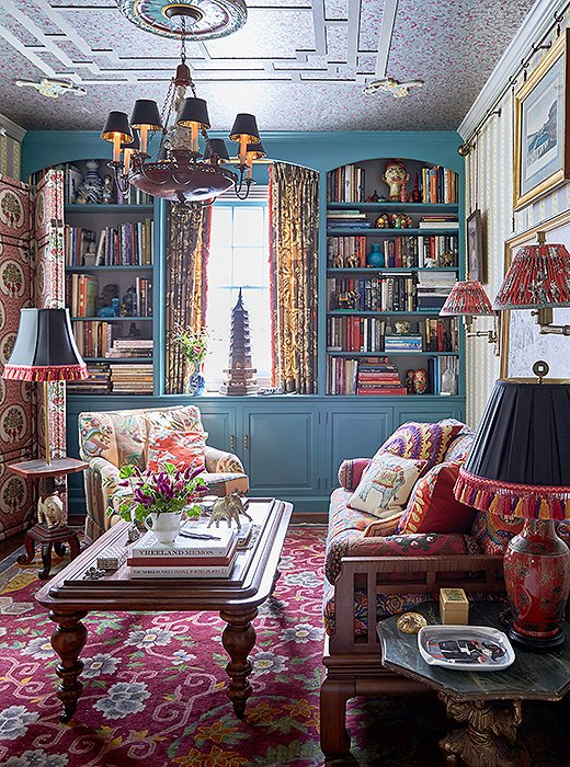 "In a room known as the opium den, John and Jason went bold with teal paint and a riot of pattern. ""When you paint a small space and take it over the top, it feels more intimate,"" says John. ""There's so much to look at that you don't realize how small the room really is."""