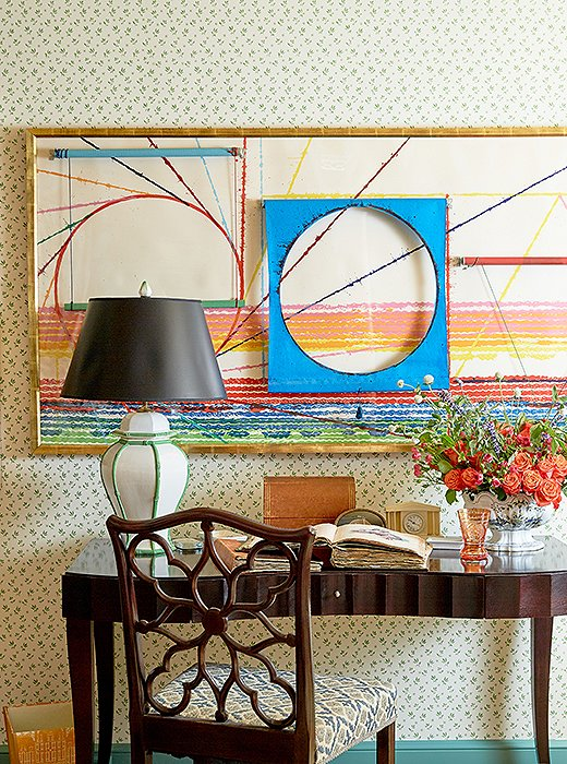 "A James Rosenquist painting adds a contemporary contrast to the guest room. ""If you have a piece that you really love, regardless of the style, it will work,"" says John."