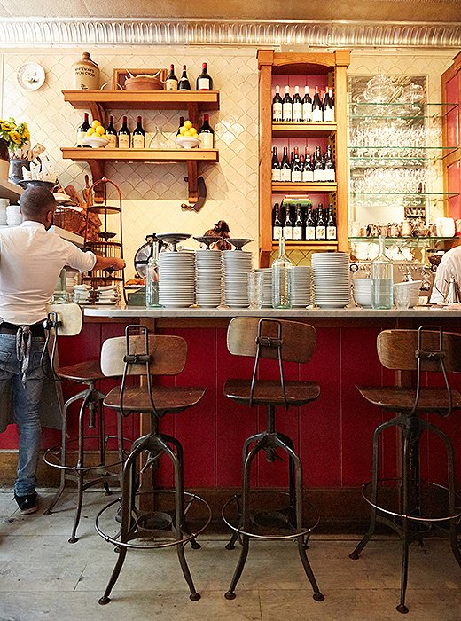 Buvette, a West Village favorite (and Christiane's), evokes a charming classic Parisian café with its marble countertops topped with stacks of small plates and bistro-style bar stools.