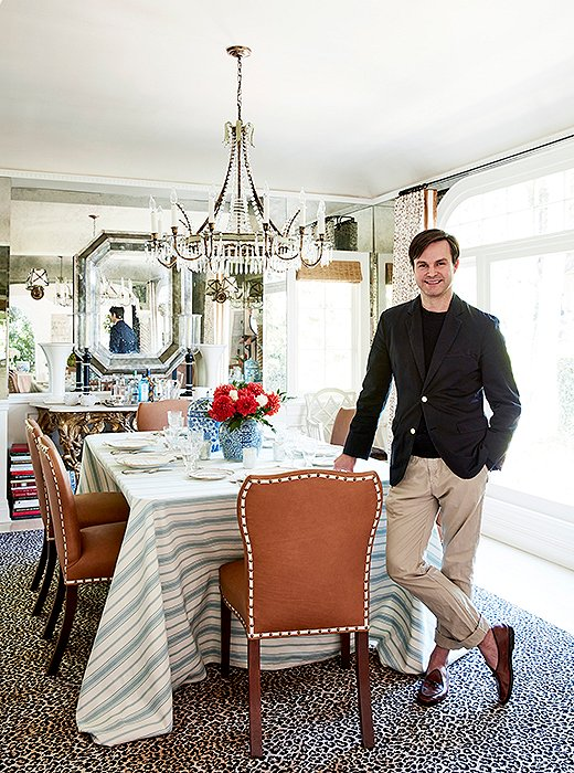 Designer Mark D. Sikes in his Los Angeles dining room, which is prepped and ready for holiday celebrations.
