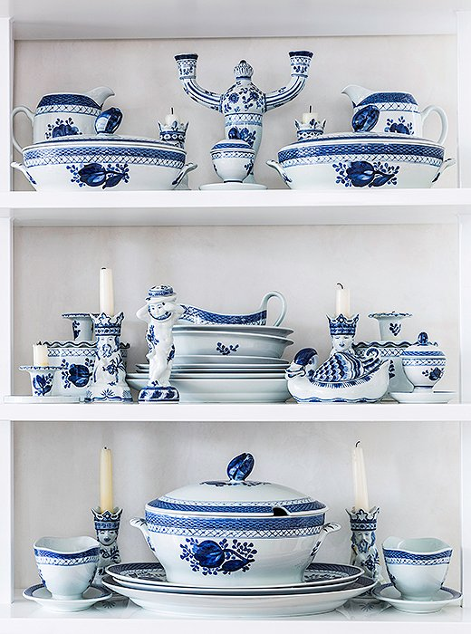 "Katie's treasured collection of Royal Copenhagen china was passed down by her mother, a consummate host. ""She really would set a dramatic table,"" Katie says. ""I don't really have time to do that, but even if it's lemons thrown in with the blue-and-white china or special napkins, I do try to make everybody feel like an effort was made on their behalf."""