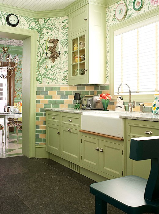 amusing green kitchen paint colors white cabinets | Designers Share Their Favorite Paint Colors for Green Kitchens