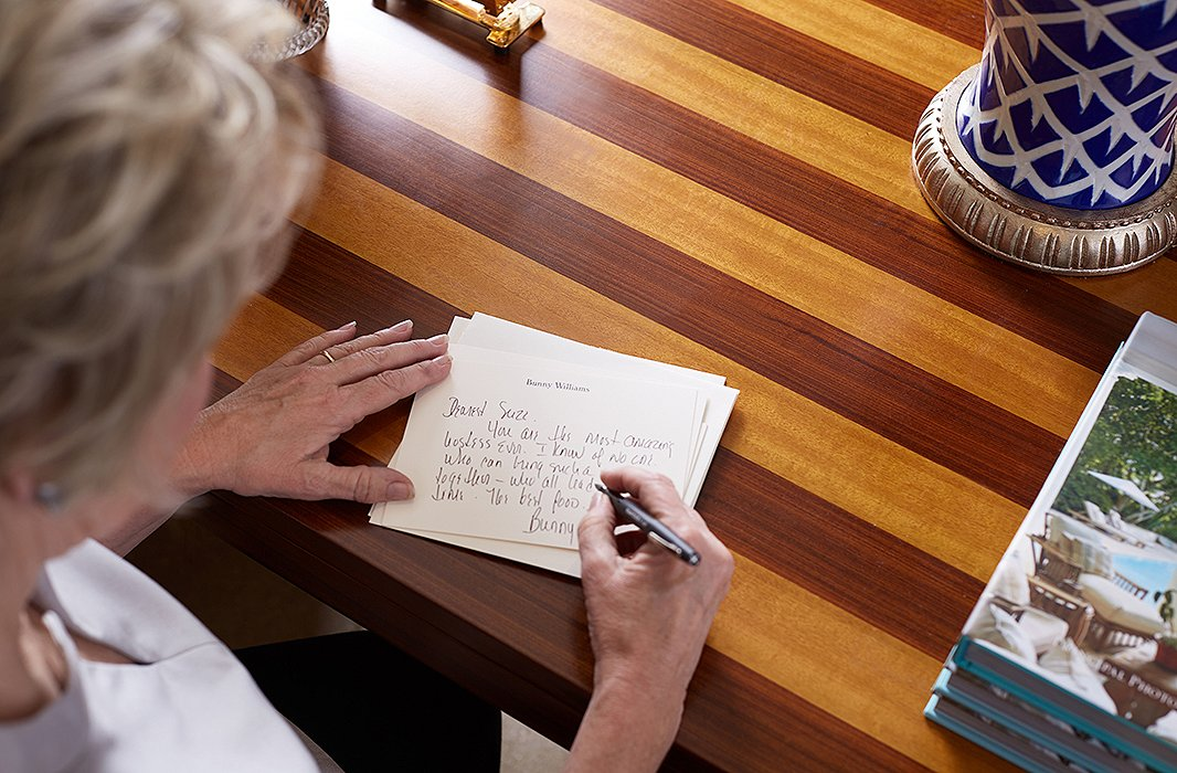 """Emailed thank-you notes are a no-no in Bunny's book. """"I think you should always handwrite a thank-you note,"""" she says."""