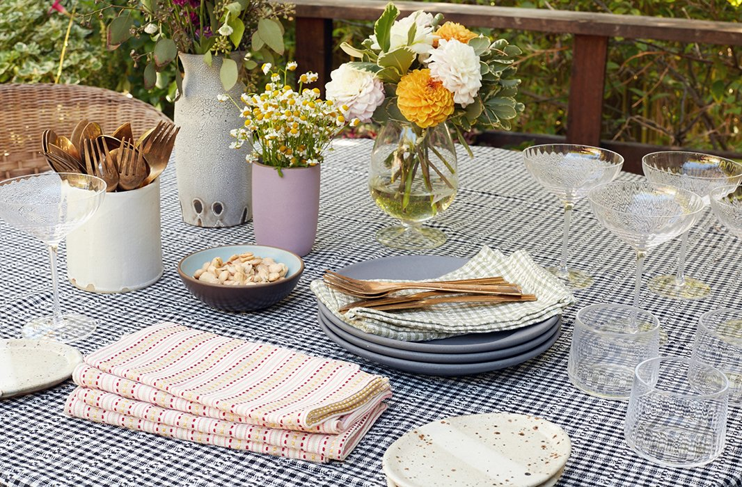 """I always have my eye out for new special things that I can add to the table,"" Heather says. ""I start with linens and put them with whatever is exciting me at the moment."""