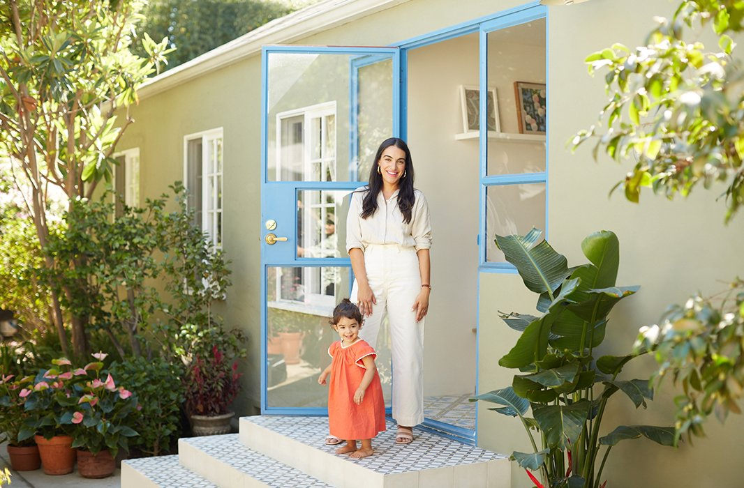 Heather's almost two-year-old daughter, Scarlett, helps welcomes guests to the Los Angeles home.