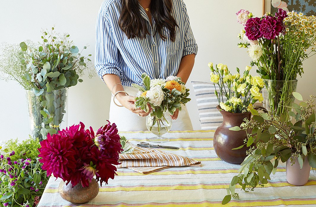 """Flowers are always on the farmers'-market shopping list. """"When I'm there on Sunday I always set aside a little bit of money for a couple of bouquets,"""" she says."""