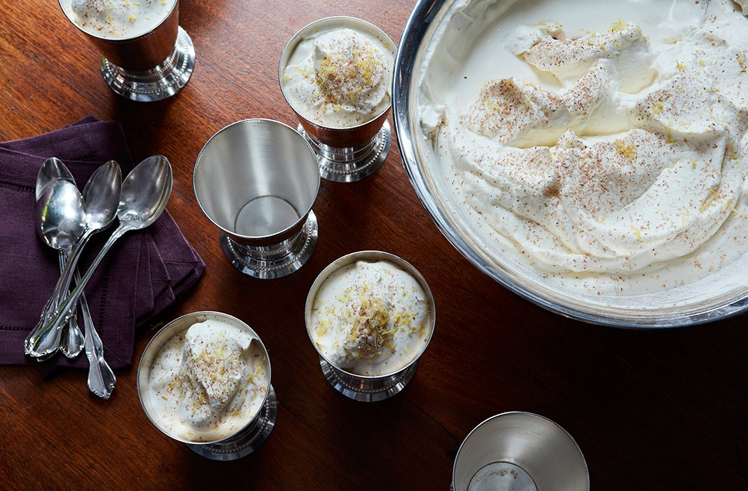 A Southern take on a 16th-century British concoction, syllabub. This sweet and frothy mix traditionally consists of milk or cream, a liquor such as sherry, and sugar. It had me at the name alone.