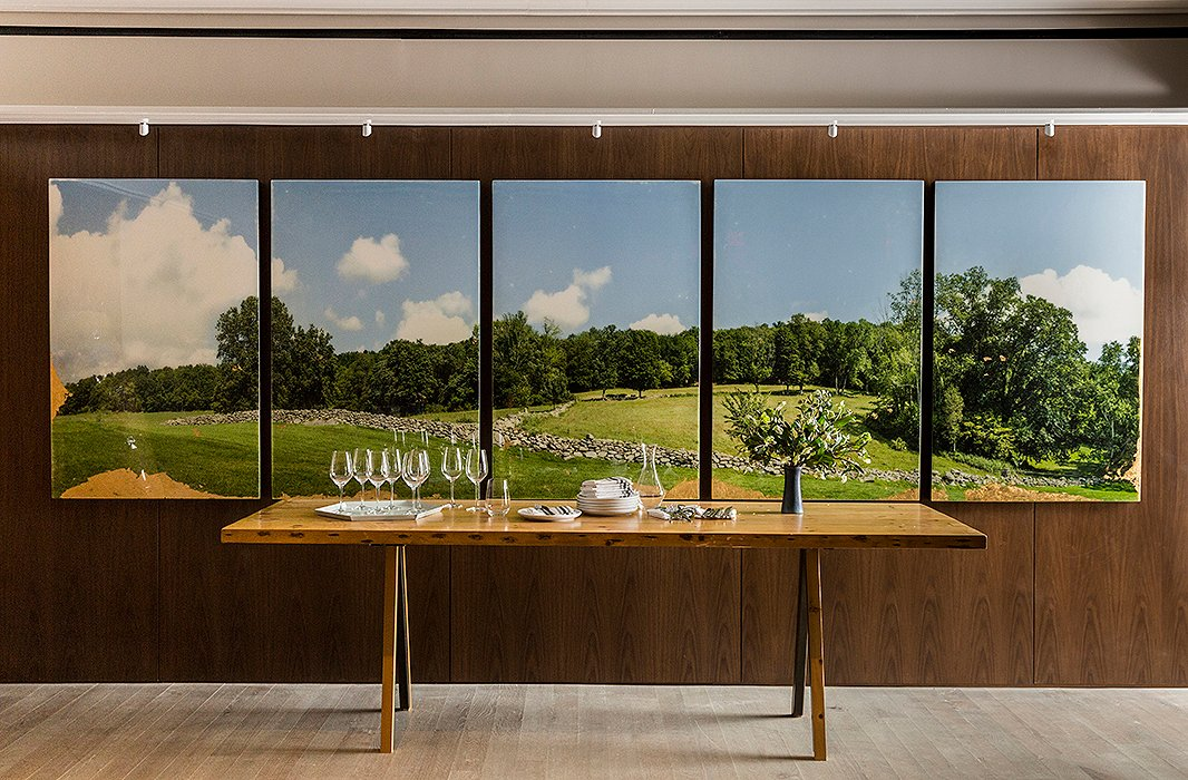 The chef collaborated with photographer Christine Flynn on the landscape in the downstairs private dining room.