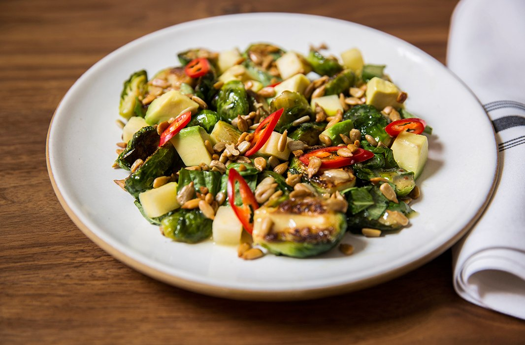 Dan's twist on roasted brussels sprouts includes avocado and chiles for a unexpected mix of flavors and textures.