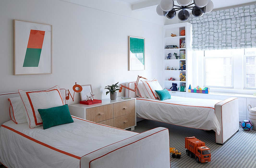 Orange and teal make a playful pop against a background of crisp, clean whites.  Photo by Manuel Rodriguez.
