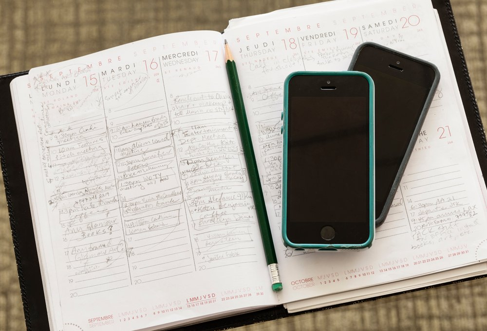 """I'm a little old-fashioned about certain things,"" says Jessica. ""Even though I have two iPhones, I like to write things down in my daybook with a pencil."""
