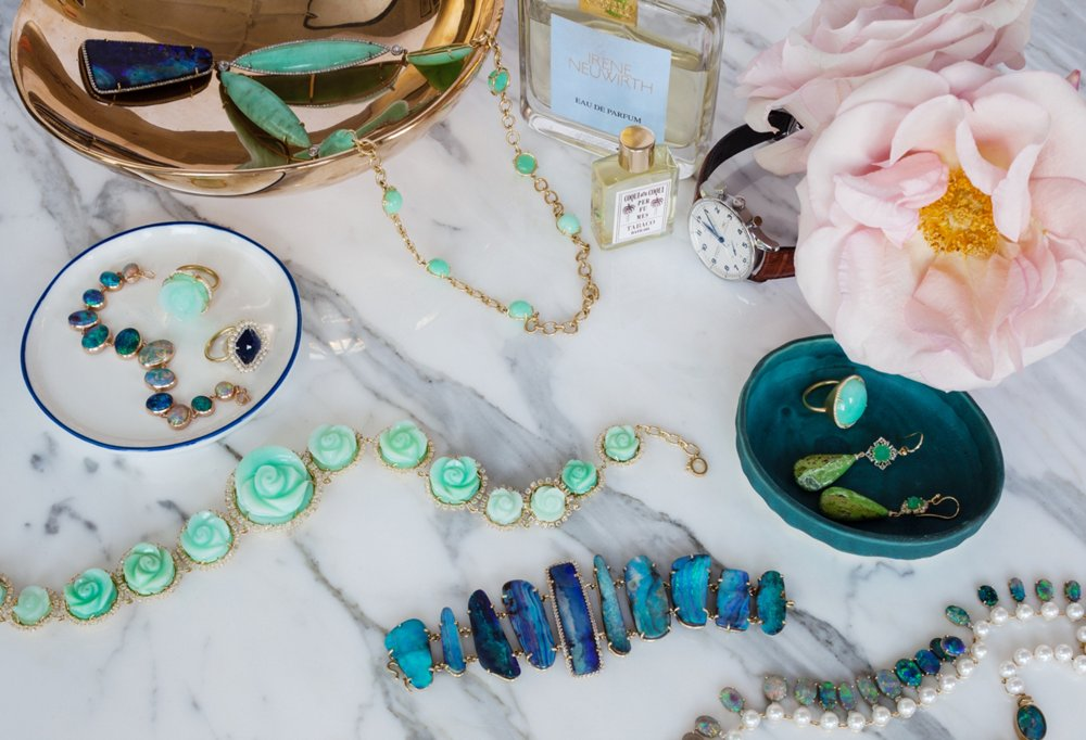 Of course Irene has a treasure trove of her own jewelry to choose from when getting dressed. She often designs with opalescent stones, which remind her of the Pacific Ocean.