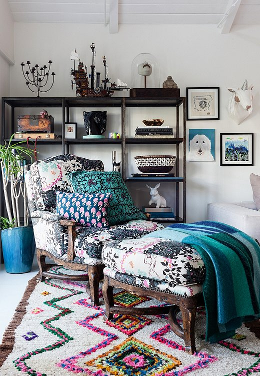 Plush Berber rugs, including vibrant Boucherouites, are synonymous with Eclectic style. Photo by Nicole LaMotte.