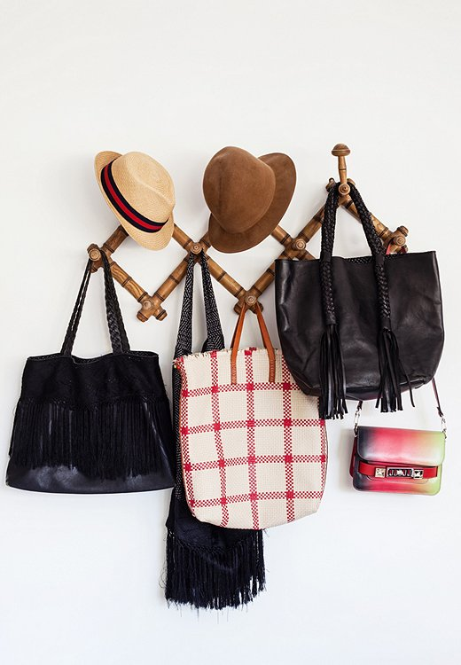 Irene's go-to collection of bags. The fringed bag came from her friend Francesca Bonato, who owns the chic getaway Coqui Coqui in Tulum, Mexico.