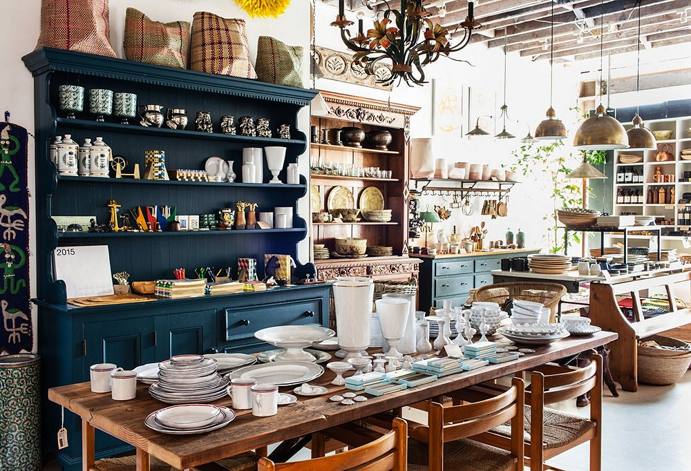 """A lot of people say they love how the store feels,"" says Todd of the light-filled, high-ceilinged space, where curated cabinet displays and home accessories demonstrate their masterful eye for design."