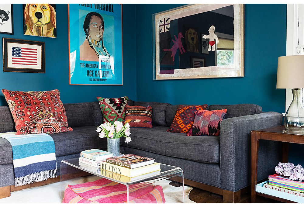 Lizzie's palette inspiration for the den came from the lobby of West Hollywood's Soho House.