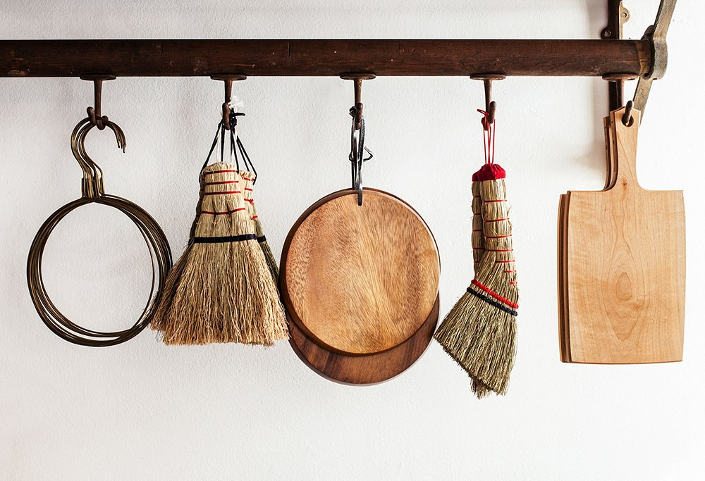 "Amy and Todd are constantly reexamining the ordinary. ""Japanese hand brooms are the perfect marriage of beauty and function,"" says Amy. ""The details and colors of these are lovely."""