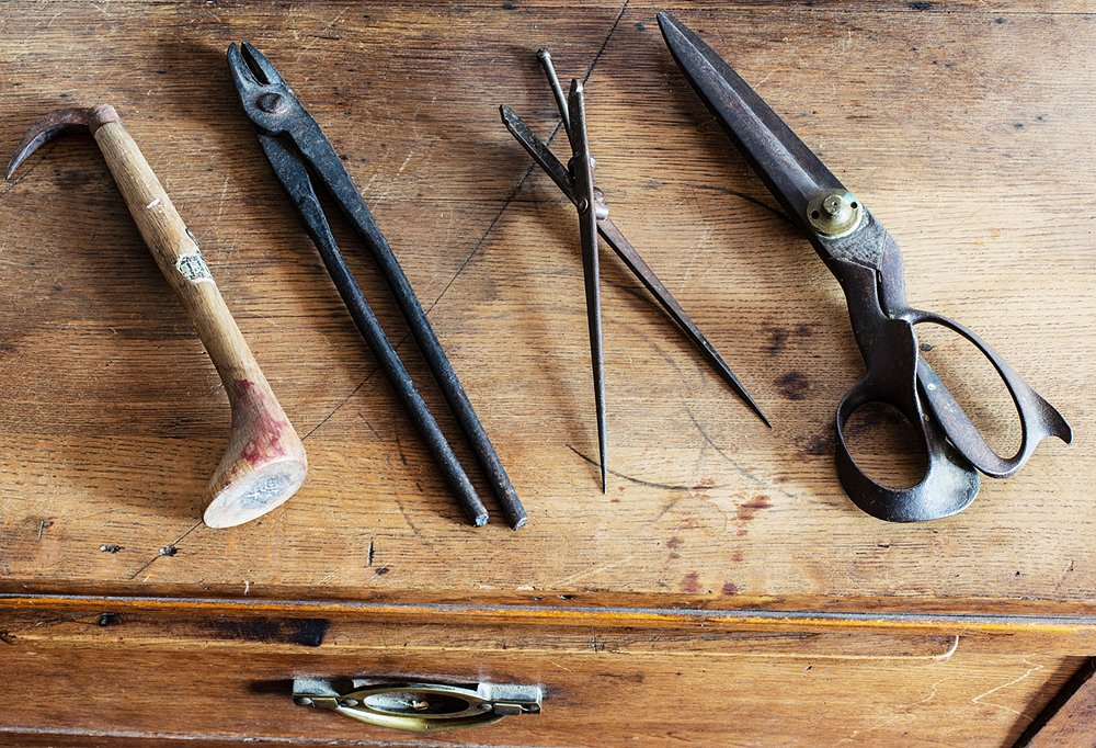 Vintage tools from Japan and France are in keeping with the shop's rustic appeal.