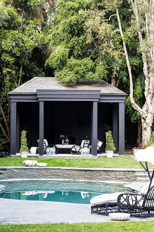 This backyard's gazebo provides loungers a break from the summer sun. Photo by Nicole LaMotte.