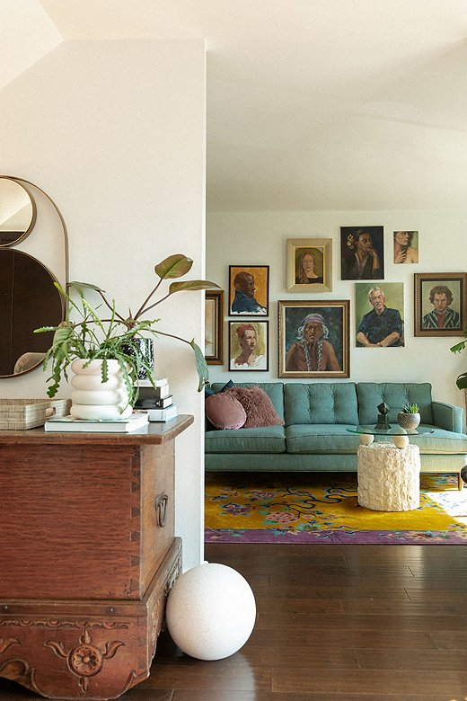 Jessie's collection of vintage art adds a layer of soul to her home.