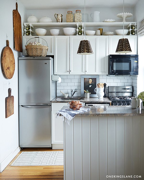 Simple storage upgrades for tiny kitchens one kings lane for Simple kitchen designs for small spaces