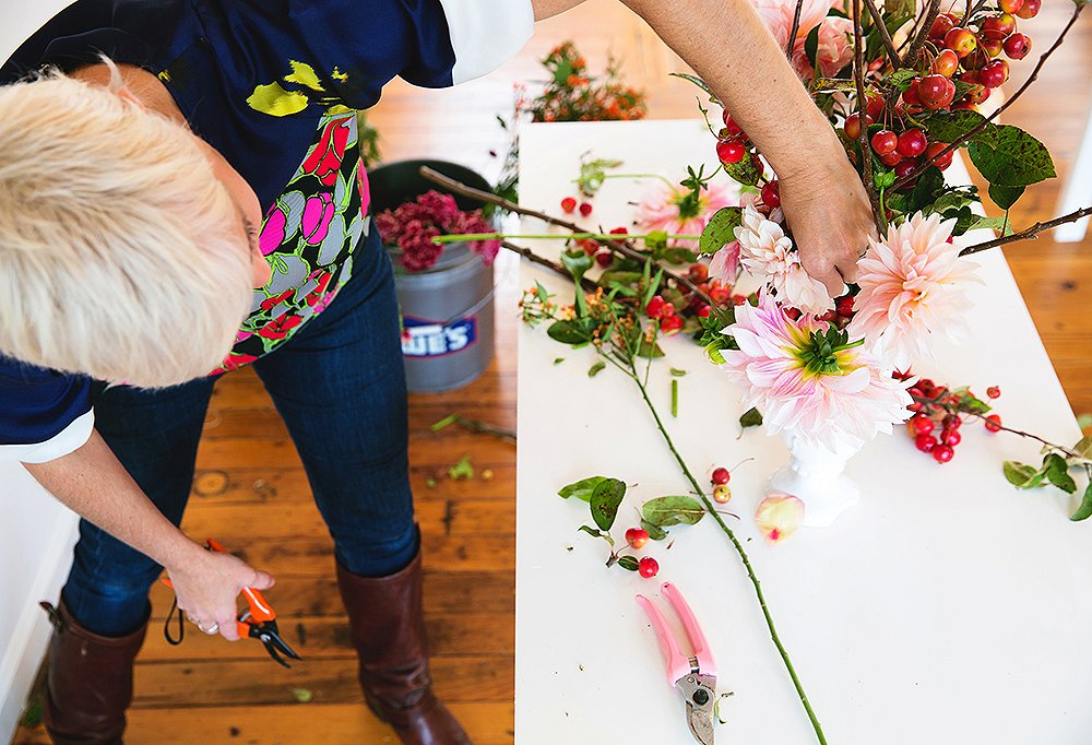 Bailey builds varying heights and dense clusters of blooms into her arrangements.