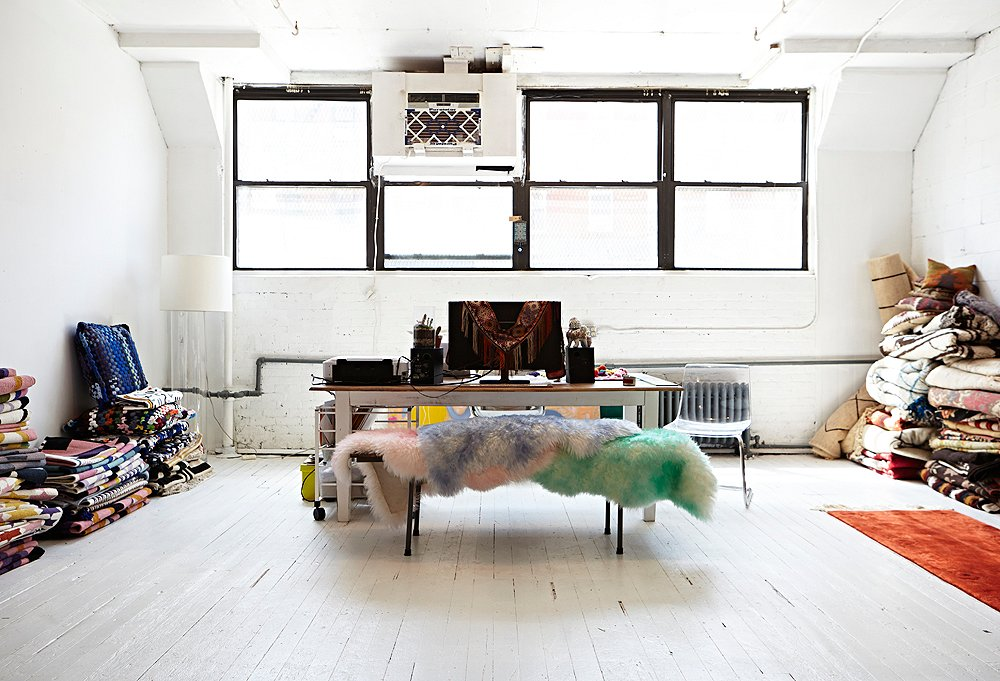 """Aelfie's new work studio—which she describes as """"a big white box with white floors""""—in Brooklyn's artsy Bushwick neighborhood. Photo by Kristine Wood."""