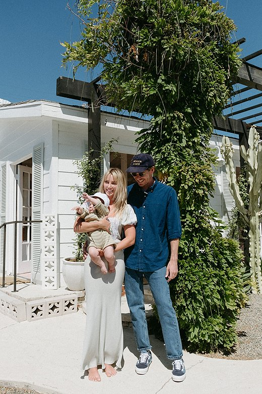 Ollie Edwards and Cydney Morris with their child at the Business & Pleasure Co. Beach House in Laguna Beach.