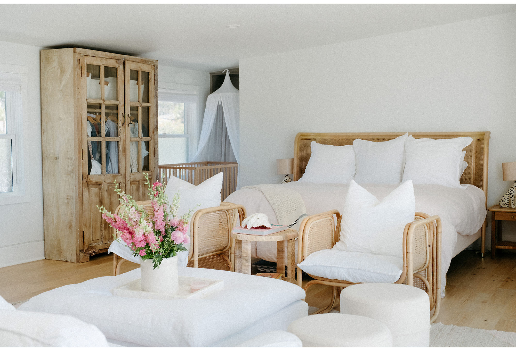 Creamy whites create a calming atmosphere in the upstairs of the Beach House.