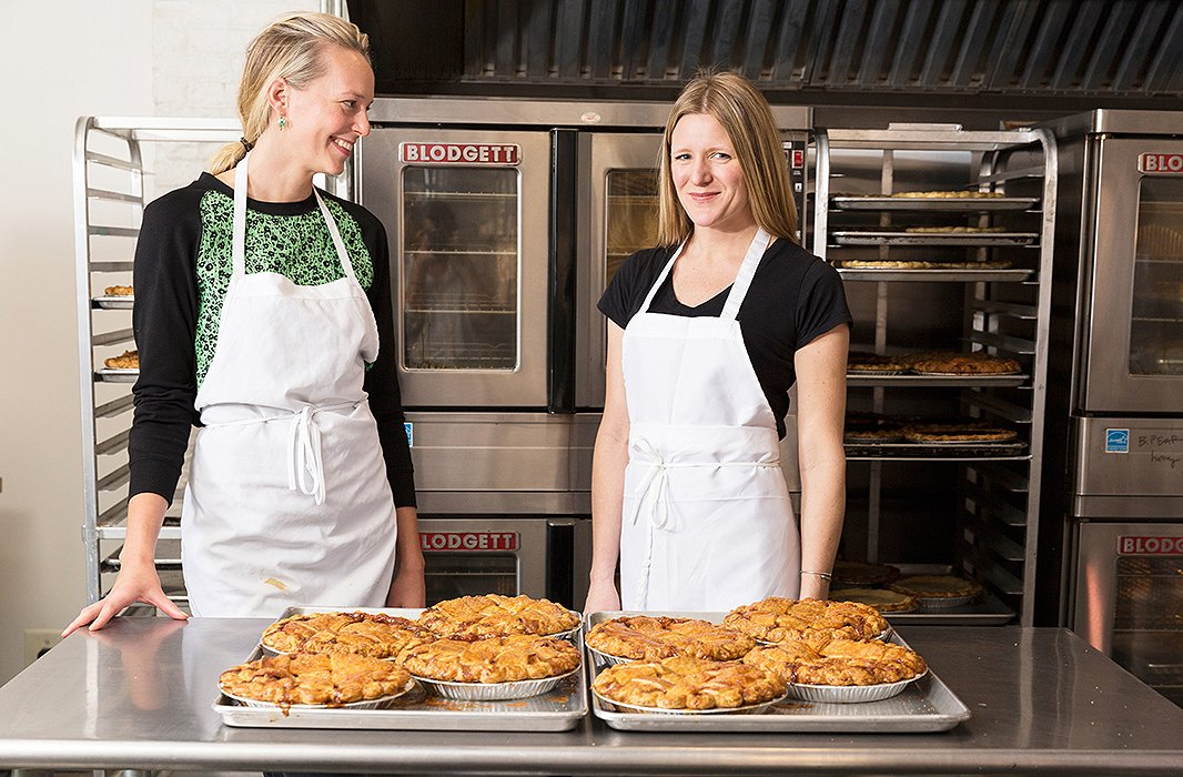 "Emily Elsen (right) founded Four & Twenty Blackbirds with her sister Melissa to bring back the classic American traditions of pie-baking. As they write in their cookbook, ""We were hard-pressed to find anyone focusing exclusively on pies in a truly handmade way, using seasonal and fresh ingredients… sure, plenty of bakeries made and carried pies, but not pies like ours."""