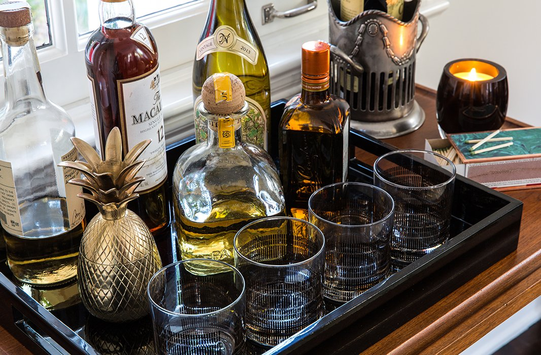 "Marlien welcomed the idea of a bar cart, adding she's glad it's not stocked with wine—""that would too dangerous."""