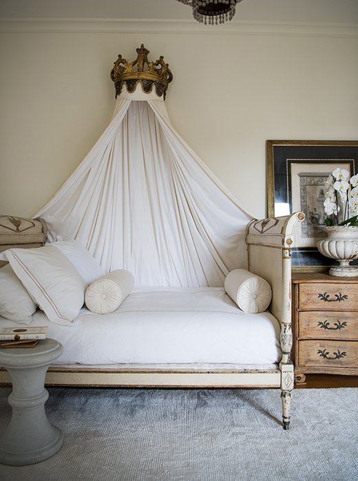 Tara puts antique beds in just about every room - this Directoire piece, she says, is so enveloping, so sheltering, and so much fun to crawl into at the end of the day.