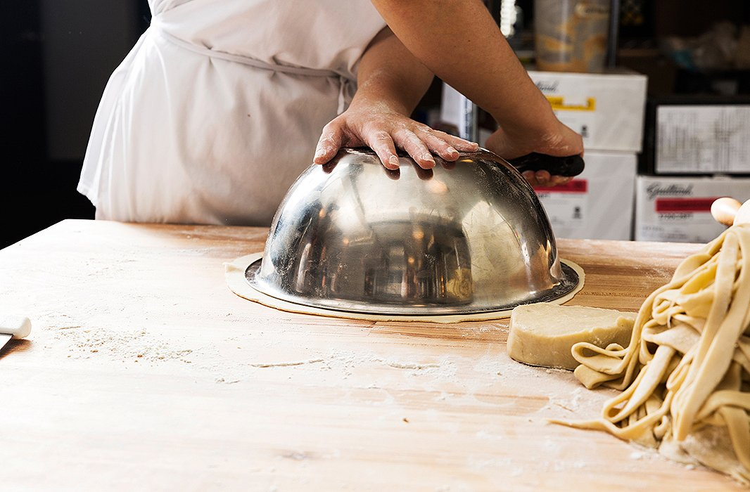 In the Four &Twenty Blackbirds kitchen, bakers use a bowl to make sure the crust is rolled out to be 2-3 inches larger than the pie pan. You can also flip your pie pan over and use that.