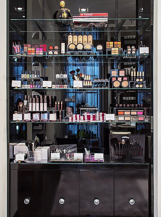 Black lacquered shelvesfeature a tightly edited array of cosmetics and beauty tools, including finds by Utowa (found only at Violet Grey). All products have to pass the company's stringent vetting process known as the Violet Code.