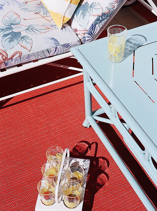 Poolside entertaining is a cinch with a vintage drink caddy.
