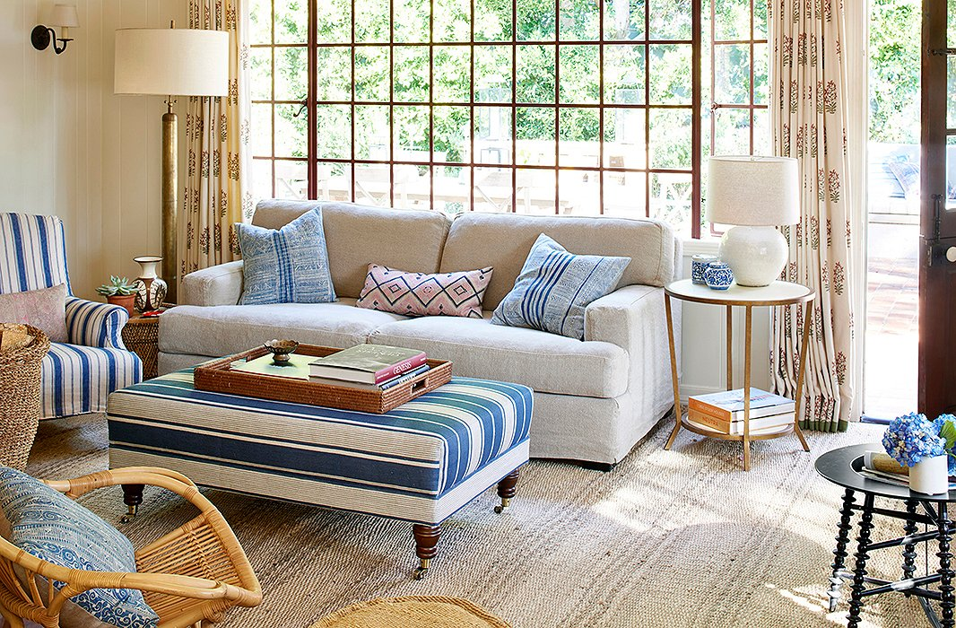 Stripes and patterns make for an inviting place to relax in Alice Kinney s  guesthouse  The. The Polished Bohemia of Hallie Meyers Shyer s  Home Again
