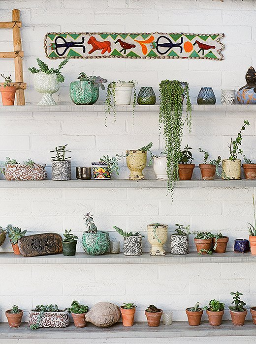 Open shelves hold an artful display of succulents and earthy ceramics. Photo courtesy of The Outpost.