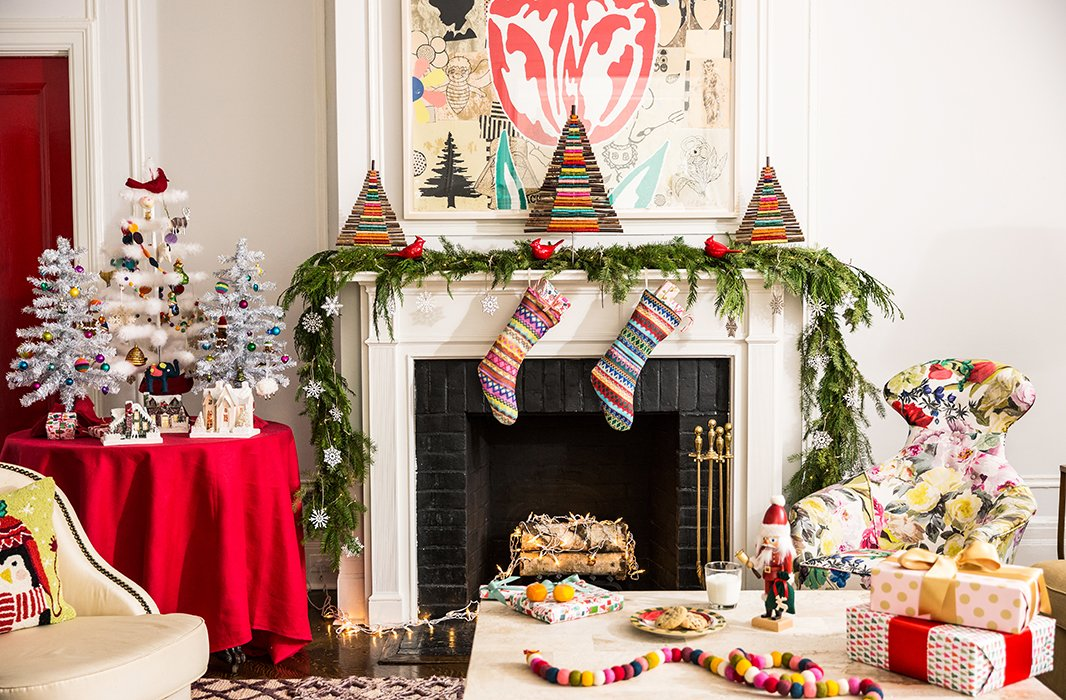 When it comes to color, this mantel proves that more is merrier. Photo by Lesley Unruh.