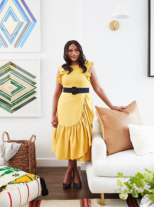 Mindy Kaling in her New York apartment. Photo by David A. Land.