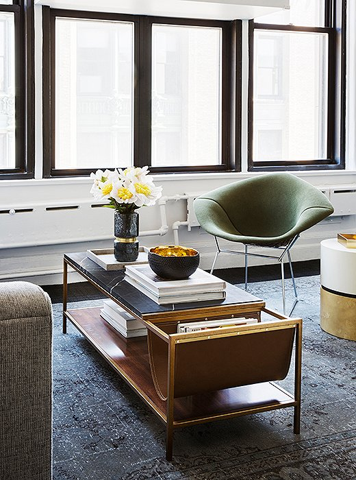 """The hero pieces in this space are the green-upholstered Bertoia chairs. They're so special, and they look good from every angle,"" Sally says."