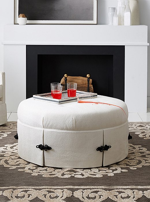 A stylish (white!) ottoman with stain-resistant superpowers.