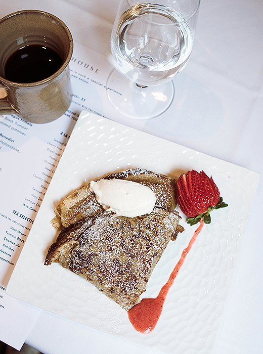 "Breakfast at the Farmhouse Inn is a delicious affair. ""Order the strawberry crepe or the banana cream doughnut—garnished with hazelnut and praline—and thank me later,"" Ashley says. Photo by @ashleykane."