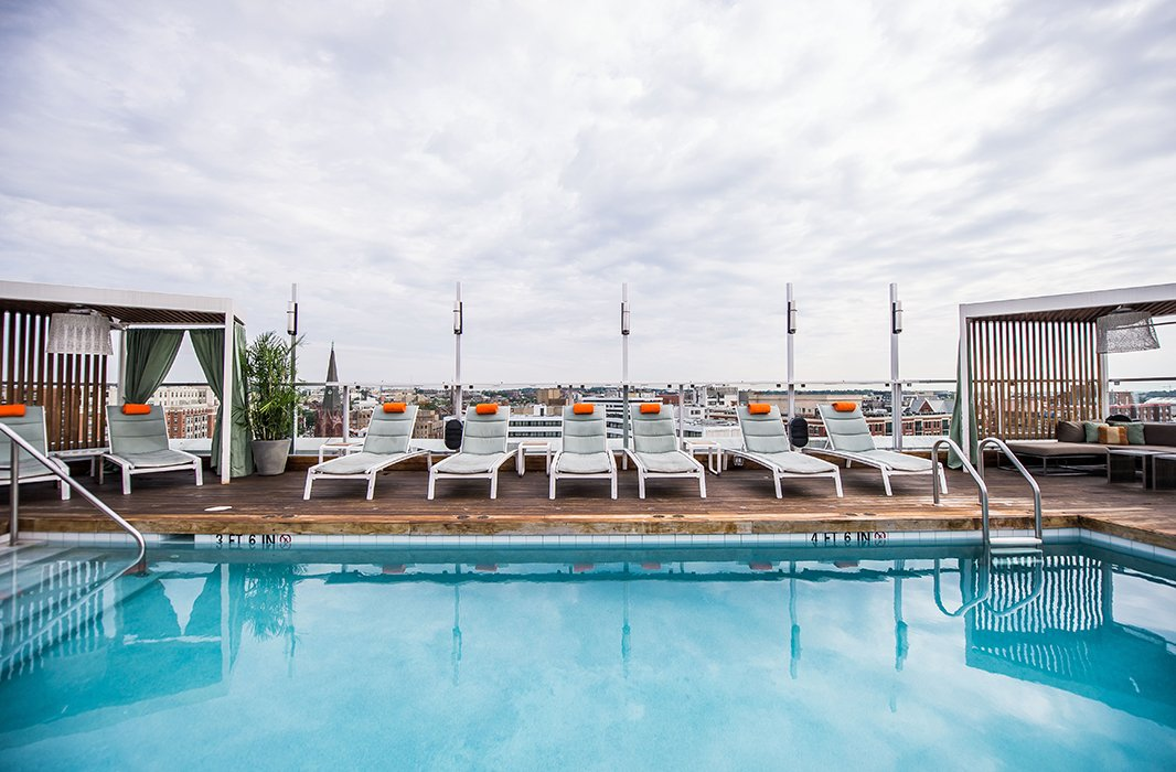 The rooftop pool at the Kimpton Donovan Hotel is a favorite of locals and visitors alike. Photo courtesy of the Kimpton Donovan Hotel.