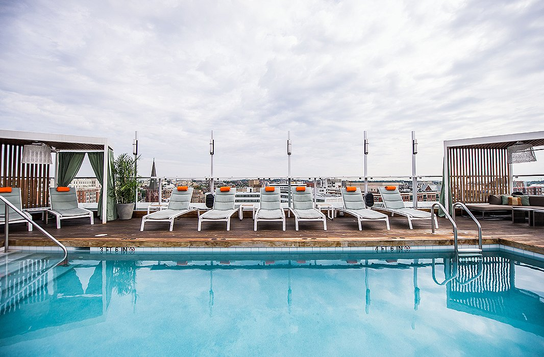 The rooftop pool at theKimpton Donovan Hotel is a favorite of locals and visitors alike. Photo courtesyof the Kimpton Donovan Hotel.