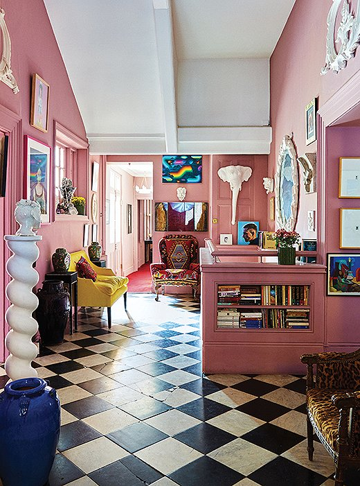Jewelry designer Solange Azagury-Partridge's pink salon is packed with oddities from around the world.